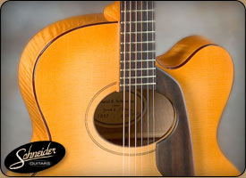 handmade acoustic guitars custom built - The Maple Flattop with Cutaway